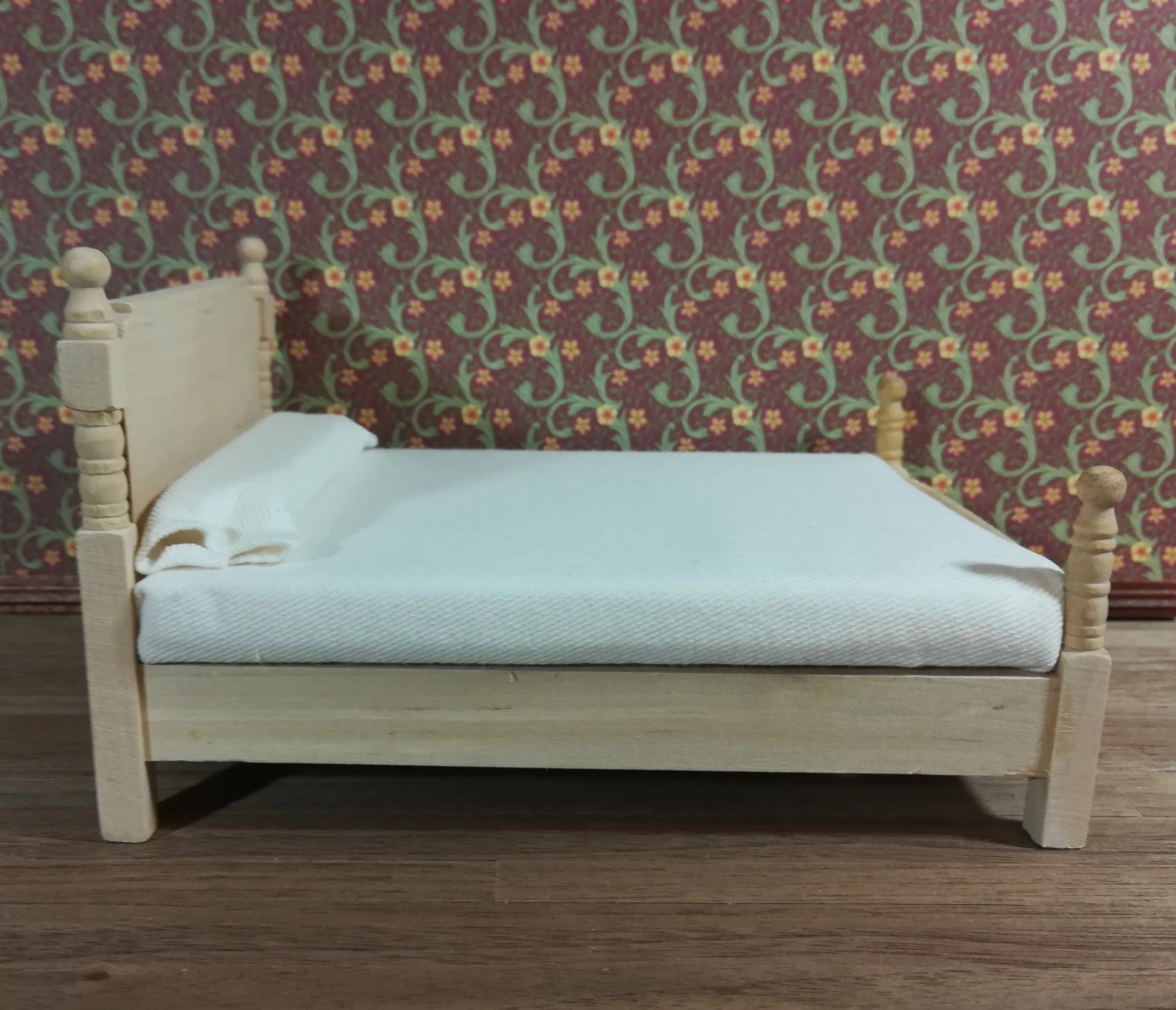 Chaise Design Miniature Dollhouse Miniature Double Bed With Mattress Unfinished 1 12