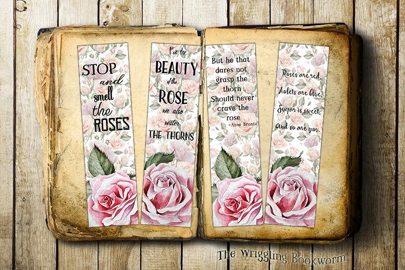 Printable Bookmark Roses Instant Download Famous Quotes Etsy
