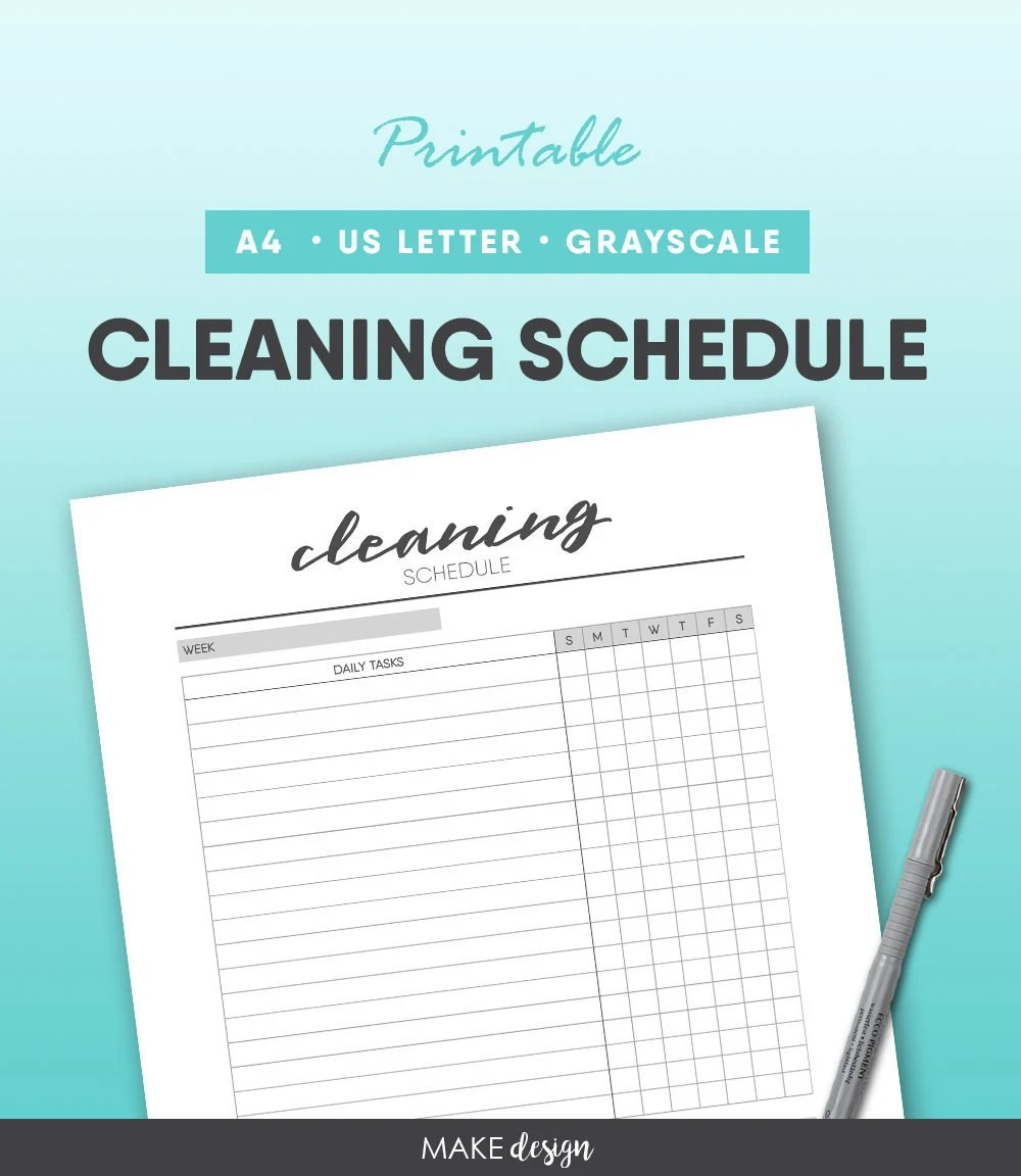 Cleaning Schedule Printable Housework To Do Check List Daily Etsy