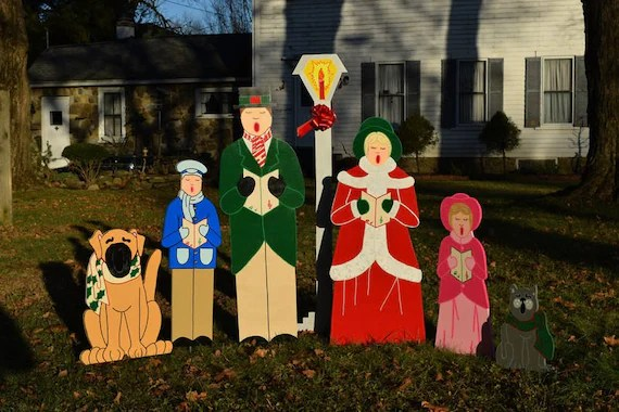 7 Piece Victorian Christmas Carolers Yard Art Stakes Etsy