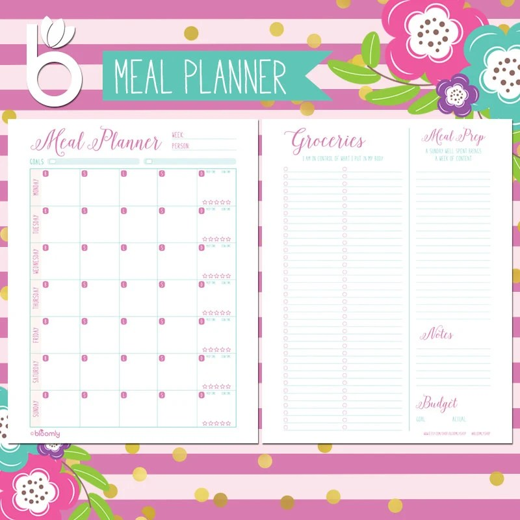 Weekly Menu Planner Meal Planner Grocery List Printable Etsy