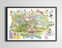 Vintage 1979 DISNEY WORLD Park Map Poster 24 x 36 or   Etsy