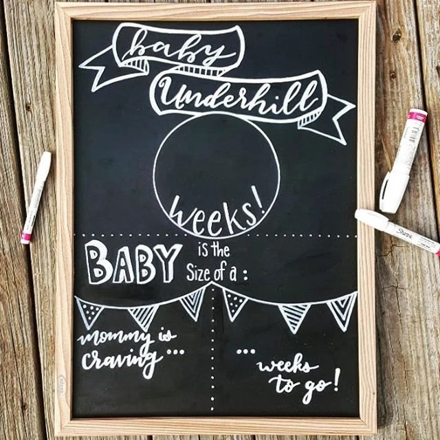 Weekly Pregnancy Sign Chalkboard Pregnancy Template Etsy
