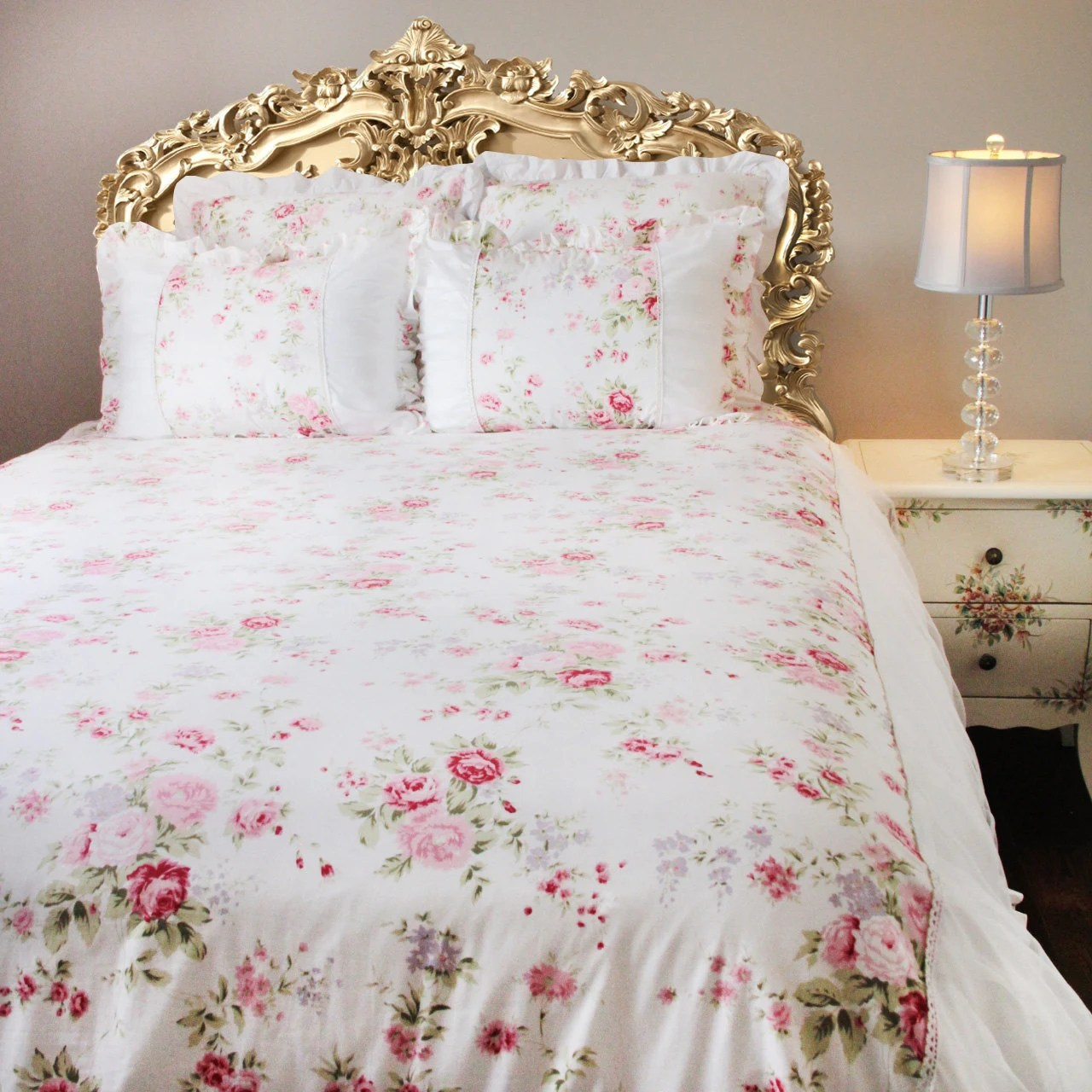 Bettwäsche Mia And Me White Pink Rose Ruffle Cotton Luxury Shabby Victorian Cottage French Country Cotton Ruching Duvet Cover