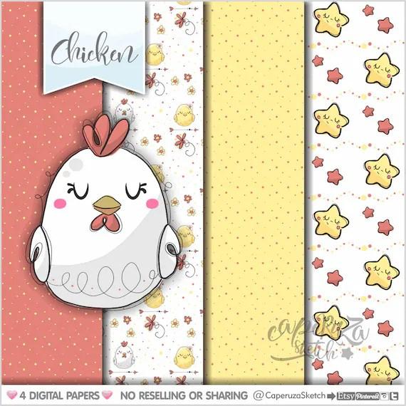Chicken Digital Paper Printable Paper Farm Pattern Etsy