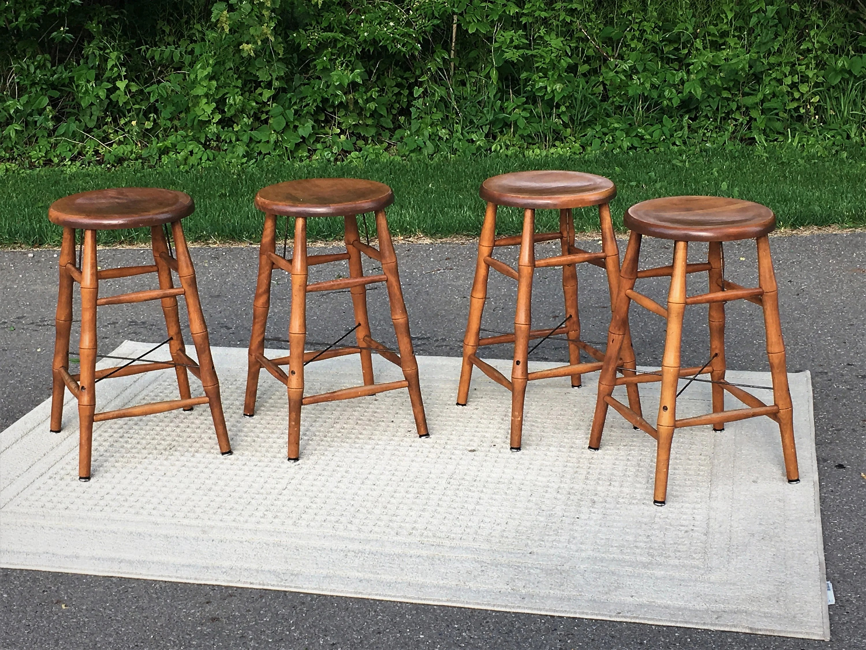 Vintage Maple Bar Stools 4 Bent Bros Stools Bamboo Style Counter Seat Industrial Metal Wood Decoration Gold Brown Kitchen Furniture
