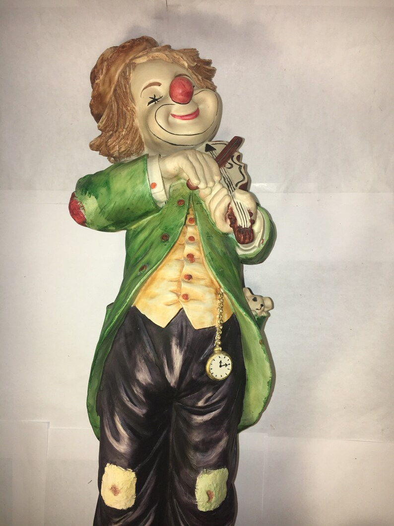 Wanddeko Clown Vintage Clown Statue Clown Playing Violin Figure Koreart Happy Hobo Clown 18