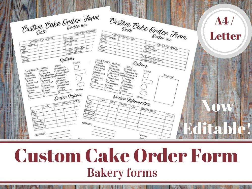 Custom Cake Order Form Bakery Forms Cake Order Form Baking Etsy