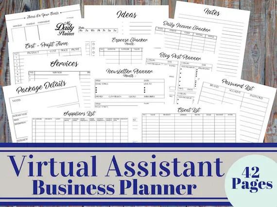 Virtual Assistant Business Planner Bundle Personal Assistant Etsy