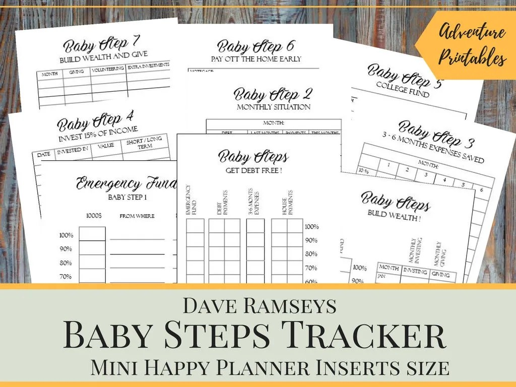 Baby Steps Tracker Printable Planner Pages For The Mini Happy Etsy