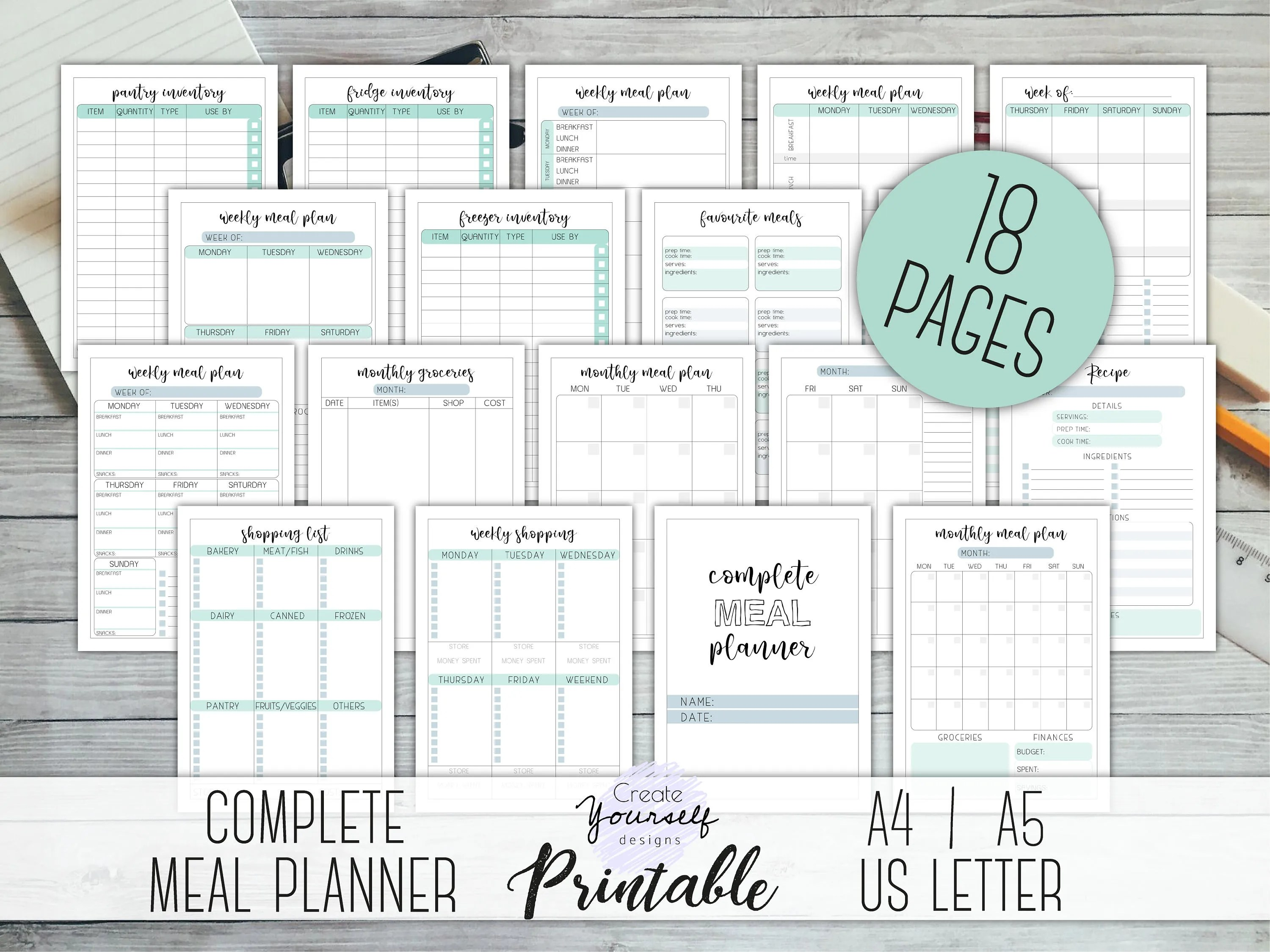 Complete meal planner printable meal planner kit grocery Etsy