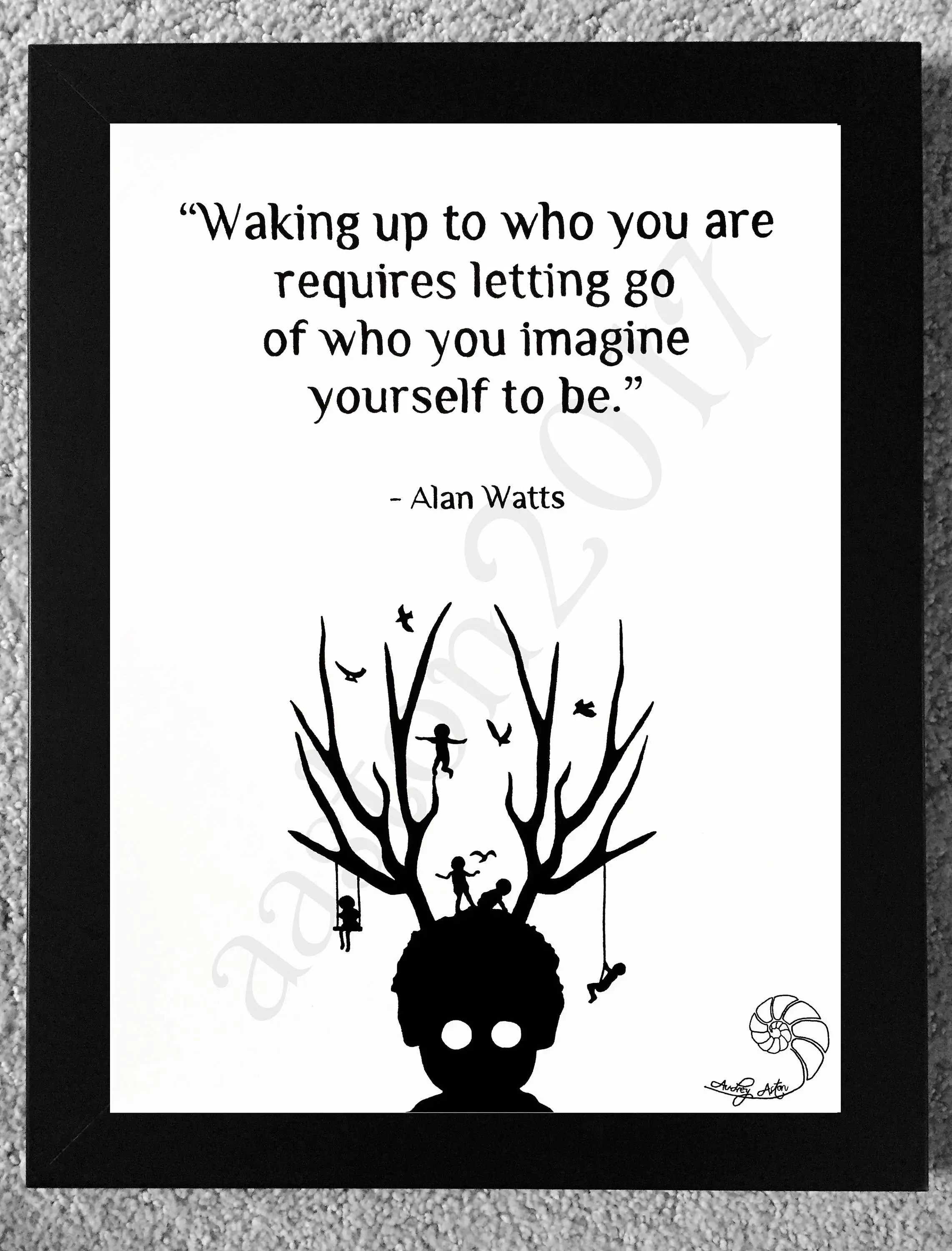 Alan Watts Libros Alan Watts Hand Drawn Quote Waking Up To Who You Are