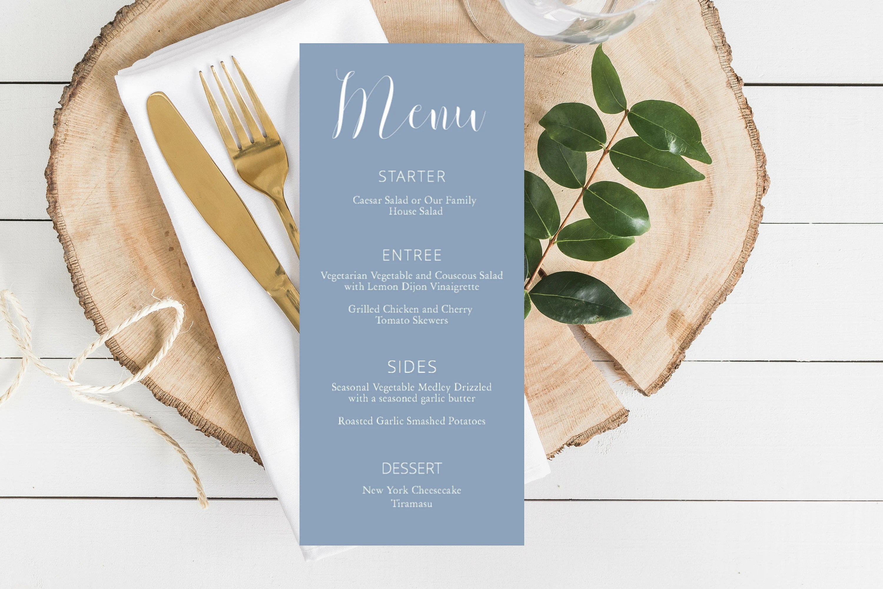 Dusty Blue Printable Menu Cards Printable Menu Wedding Etsy