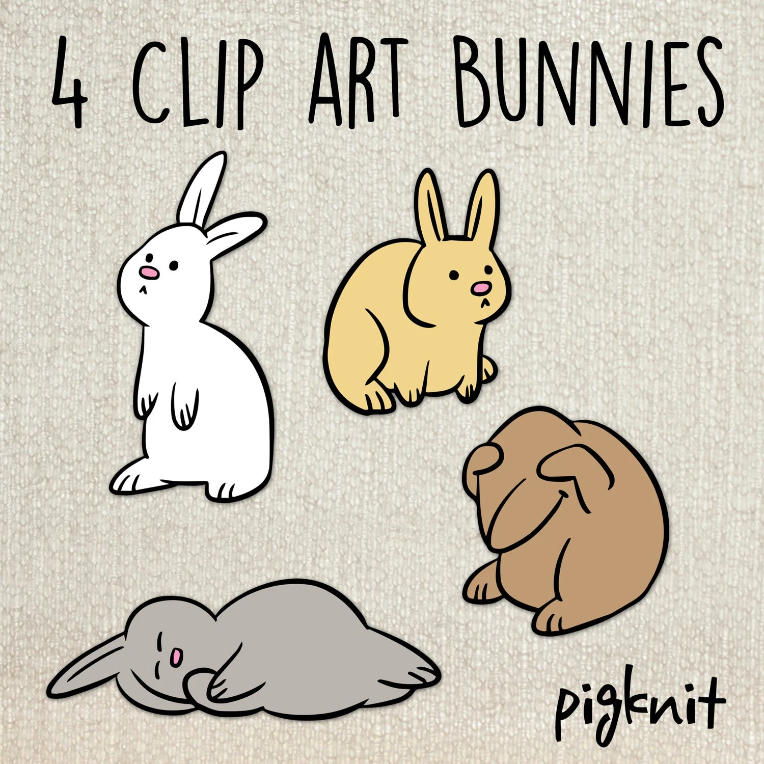Cute bunny rabbit Easter printable digital clipart png set for Etsy