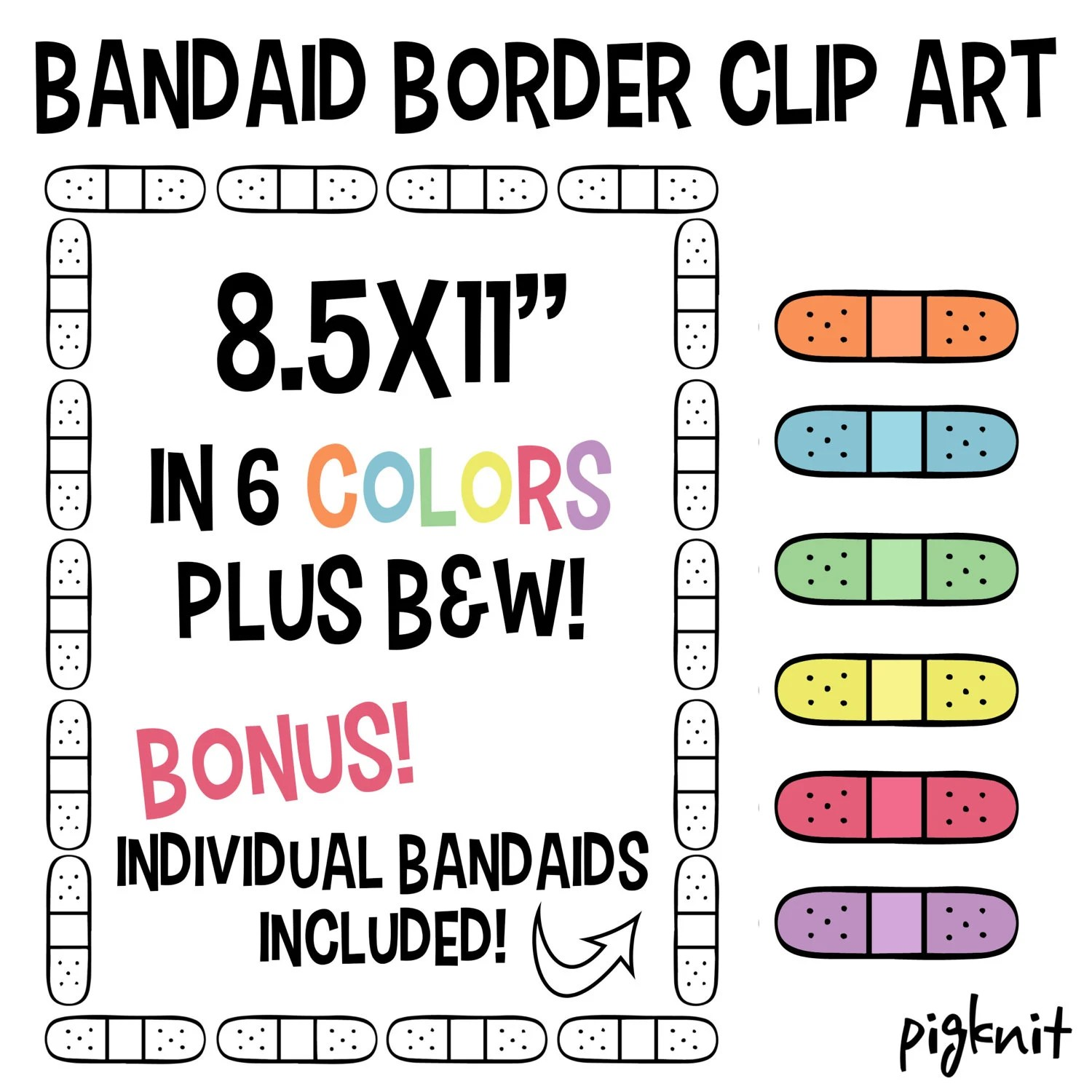 Bandaid border printable digital paper clipart png set for Etsy