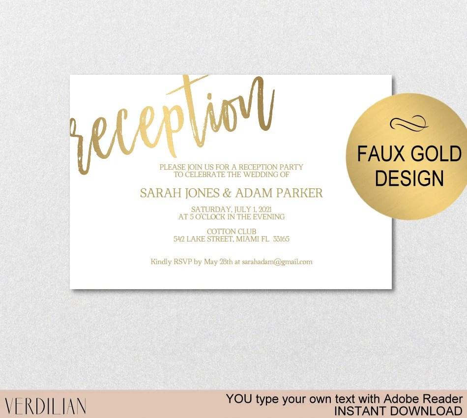 Wedding Reception Card Gold Wedding Reception Card PDF Etsy