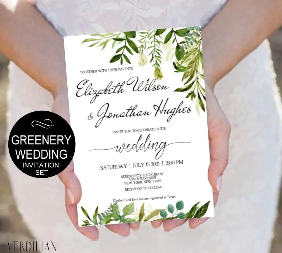 Rustic Wedding Invitation Template-Greenery Watercolor Wedding Etsy