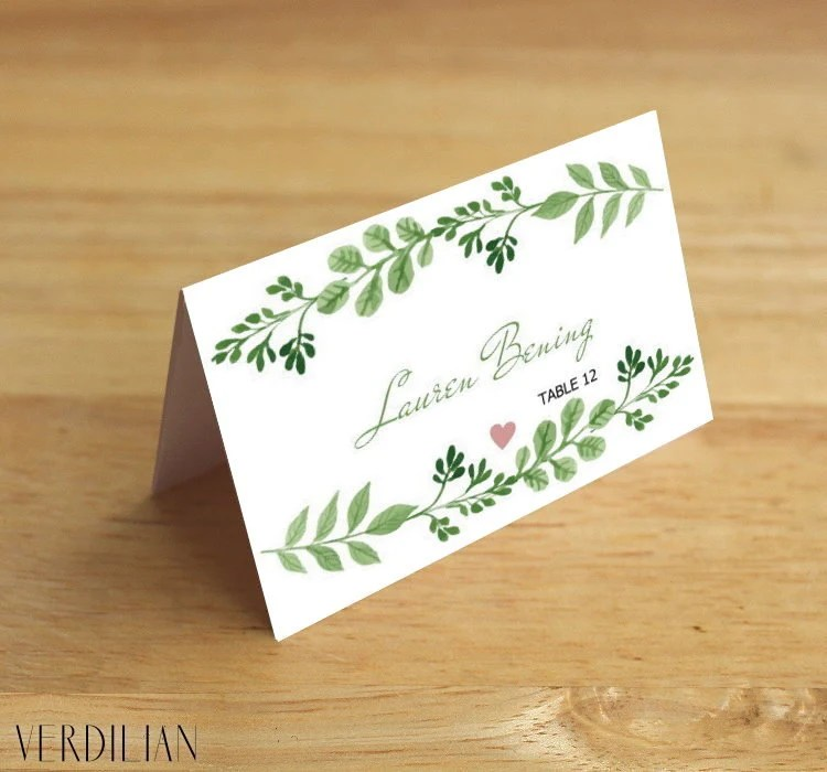 Rustic Place Card template-Printable Flat  Folded place card-Leaves