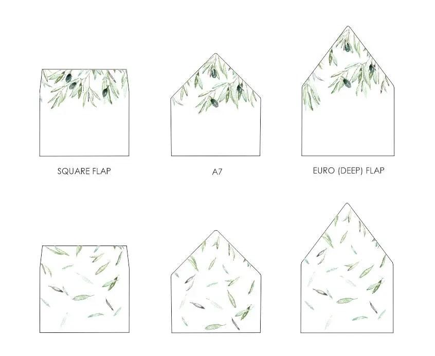 Olive Leaves Envelope Liner Template - A7, euro flap, square flap -  Printable envelope insert - Olive Branch - DOWNLOAD Instantly VRD135EB