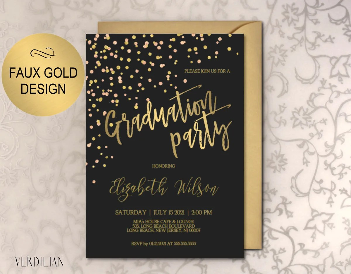 Graduation Party Invitation Printable Template Black Gold Etsy