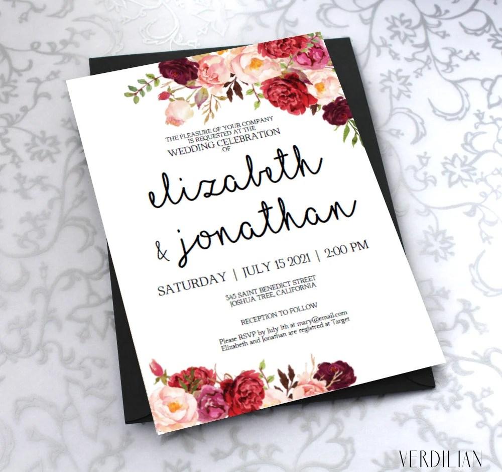 Printable Wedding Invitation Template Burgundy Floral Watercolor