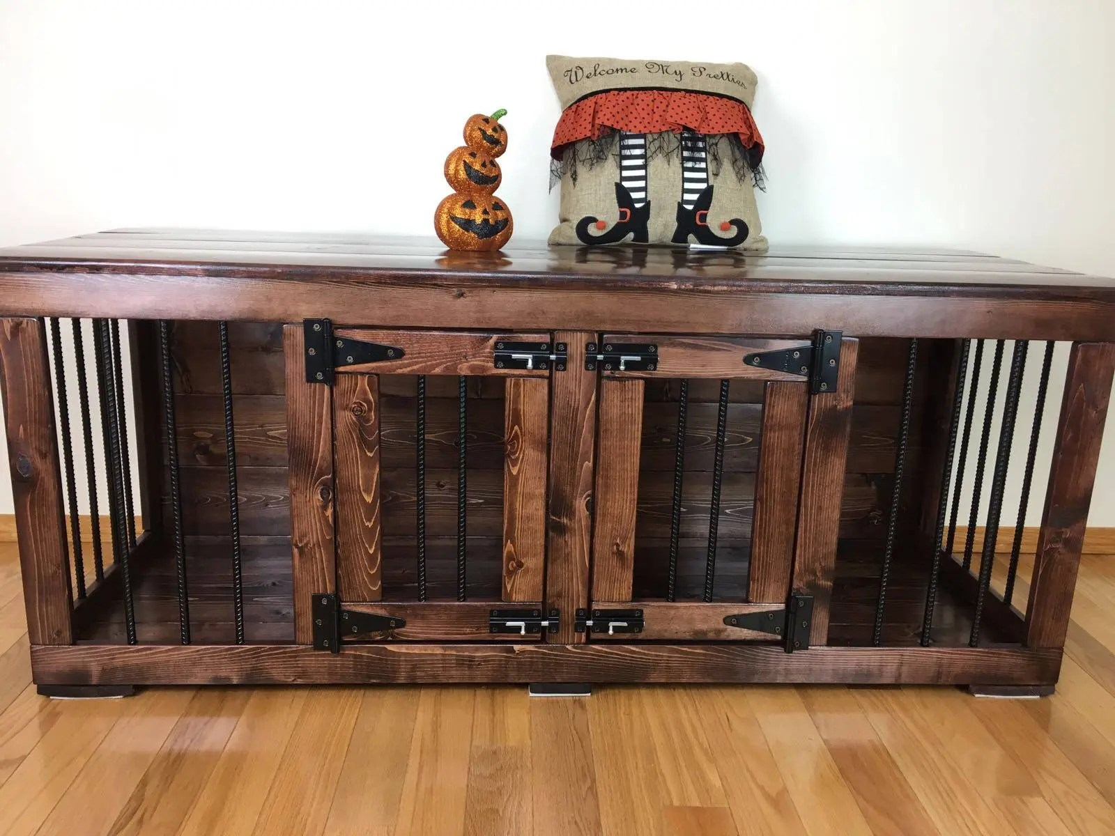 Double Dog Bed Pretties 1 On Etsy Double Dog Kennel Custom Kennel Handmade Kennel Dog Bed Dog Crate Furniture Pet Furniture Handcrafted Wood