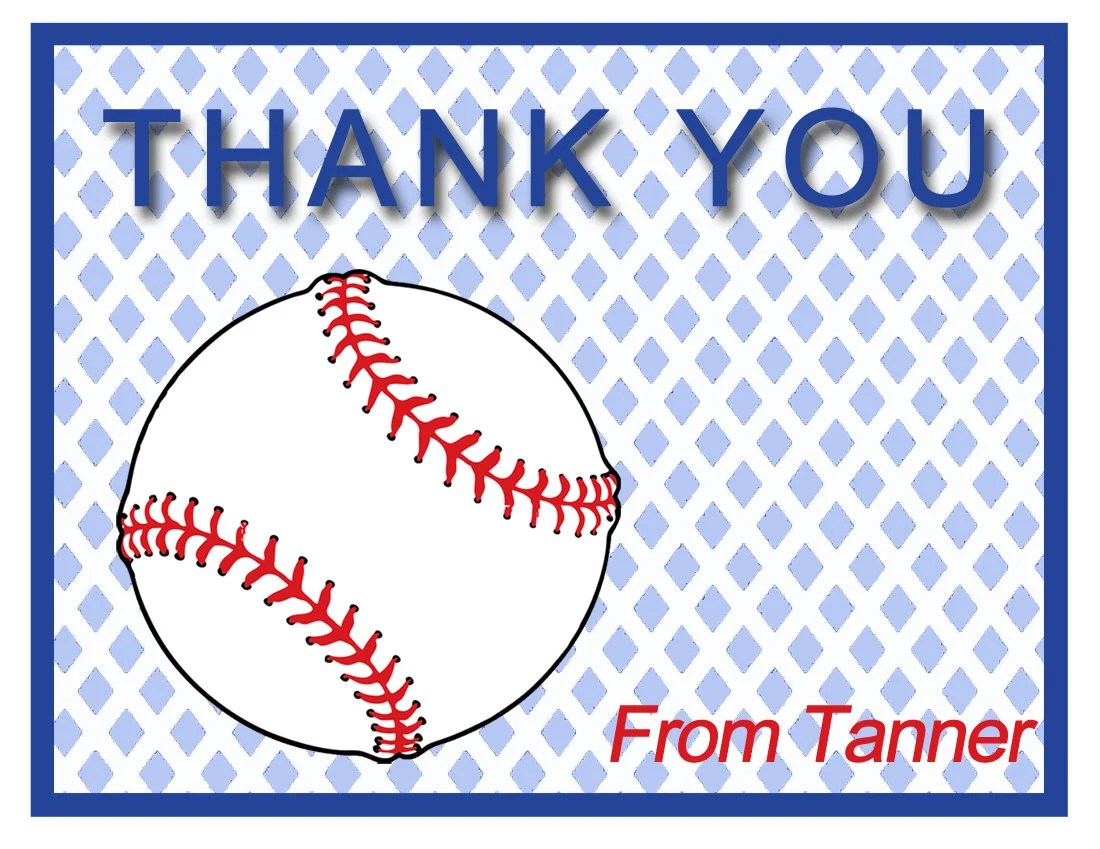 10 Personalized Baseball Thank You Cards Baseball Cards For Children  Custom Girls Cards Boy Thank You Cards Children Custom Cards