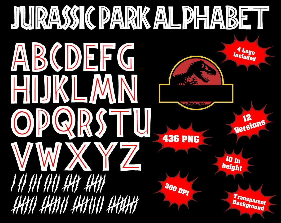 Libro De Jurassic Park Jurassic Park Alphabet And Numbers 436 Png 300 Dpi Transparent Background 12 Colors Jurassic Park Birthday Jurassic Park Party