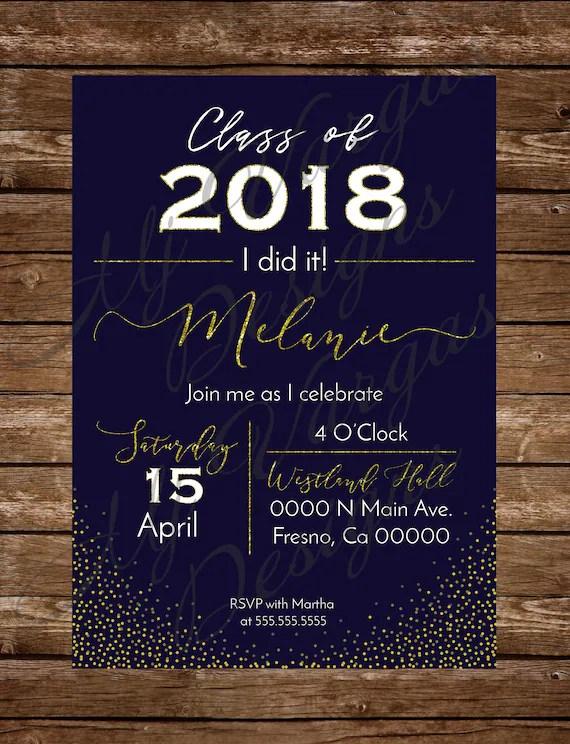 Invitacion para Fiesta de Graduacion Dorado y Azul Marino Imprimible  Celebracion de Graduacion Clase del 2018 Elegante (5x7pul)
