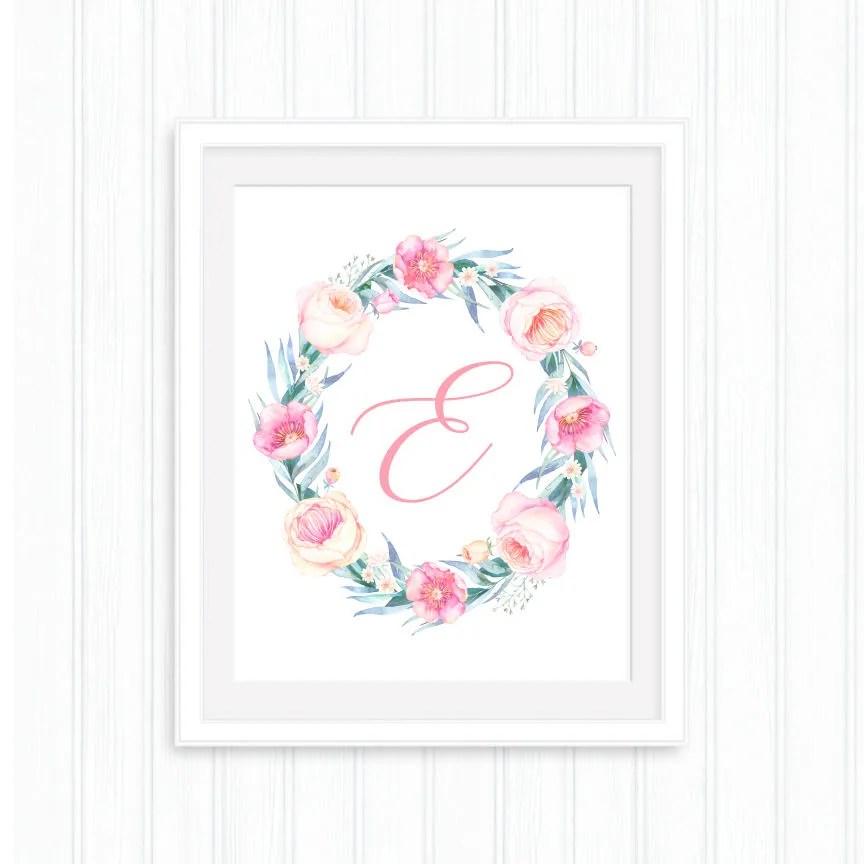 Baby girl custom initial Letter E Printable pink letter Etsy
