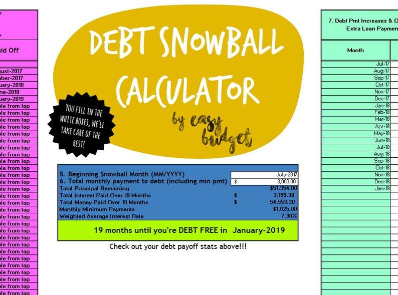 Debt Snowball Calculator © Automatically Calculates Payoff Etsy