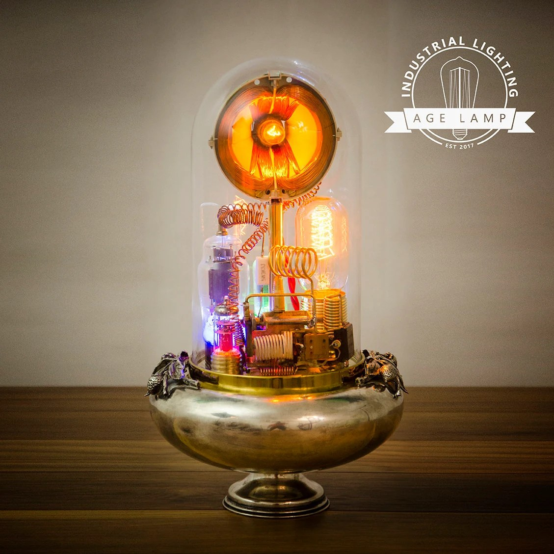 Glass Lamp Art Steampunk Lamp Art Sculpture With Glass Dome Display