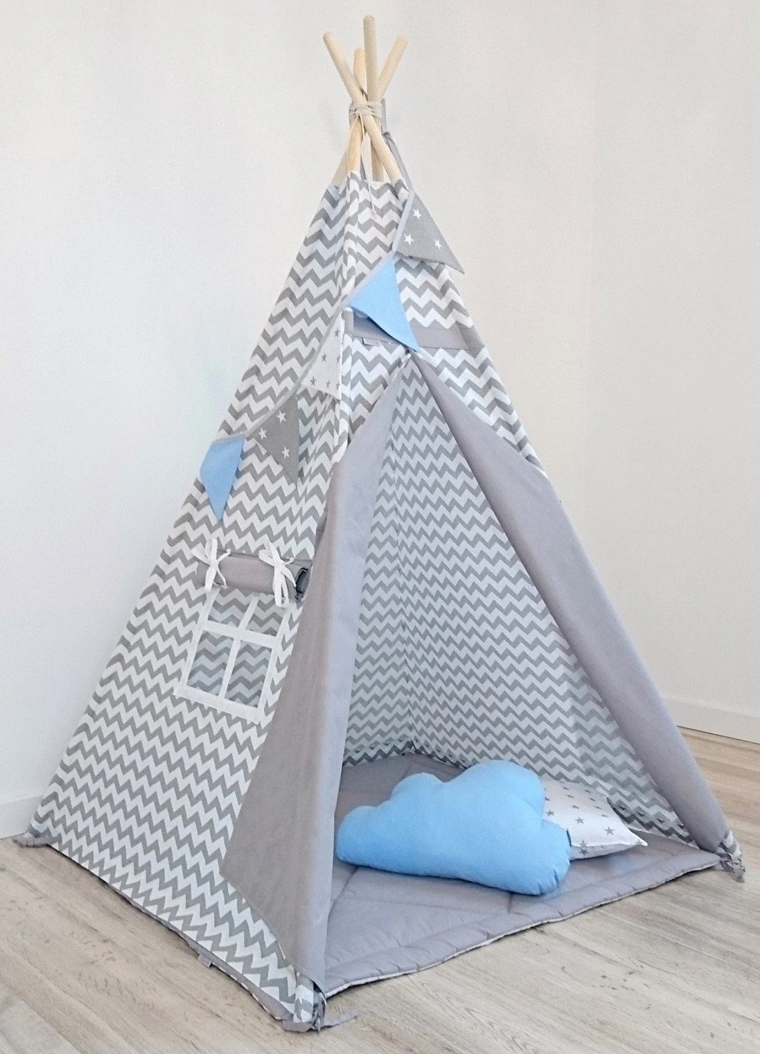 Teepee Kids Kids Teepee Indian Teepee Childrens Teepee Sale Teepee Play Tent Tipi Teepee Tent Tipi Zelt Wigwam With Mat Zigzag Grey Blue Set