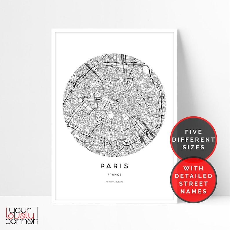 Paris Map Print Paris City Map Printable Wall Art Travel Etsy