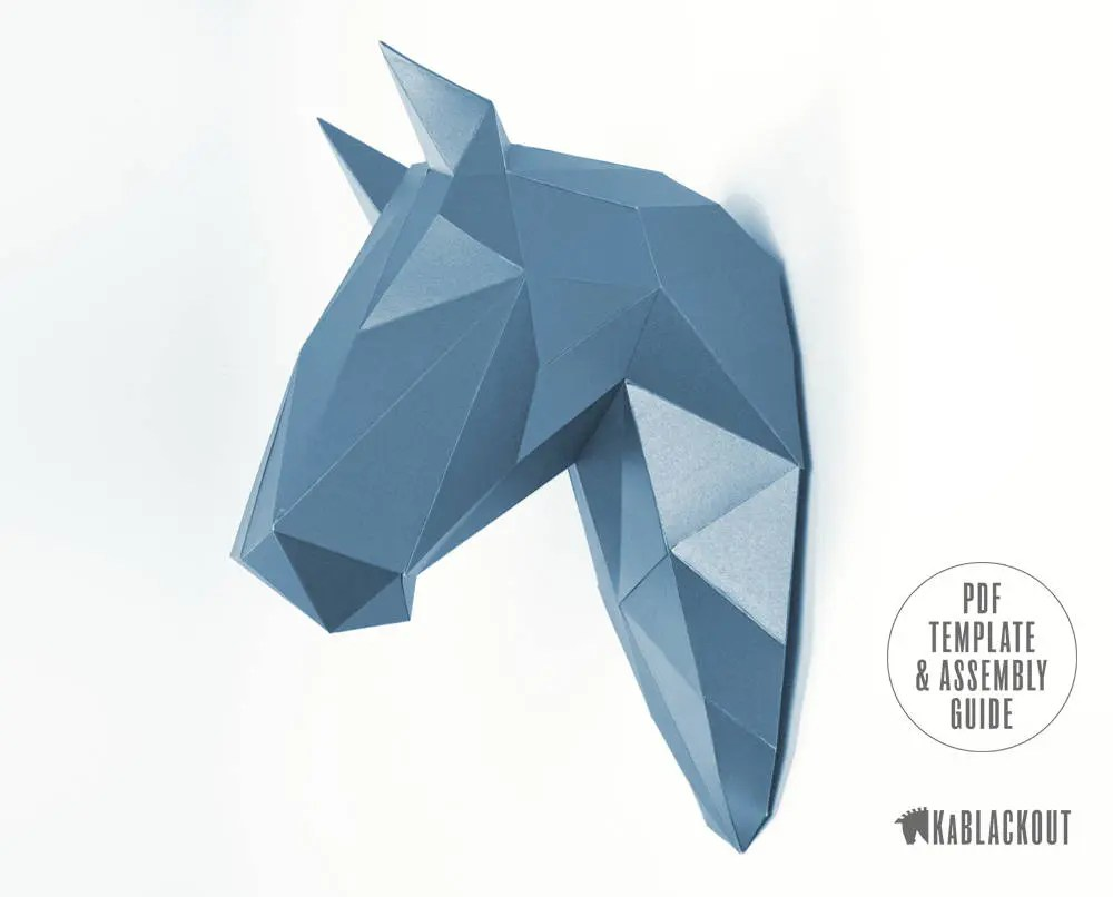Horse Wall Trophy Papercraft Template DIY Horse Head Low Etsy
