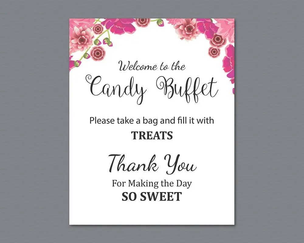 Candy Buffet Sign Printable Candy Bar Sign Pink Flowers Etsy