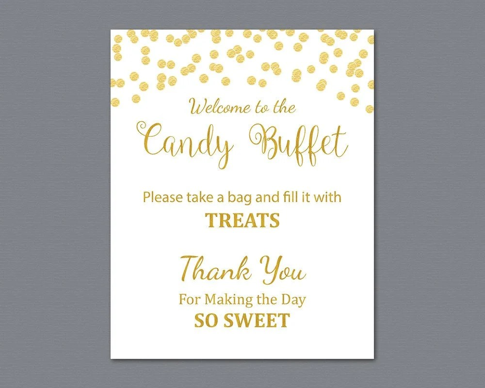 Candy Buffet Sign Printable Candy Bar Sign Gold Confetti Etsy