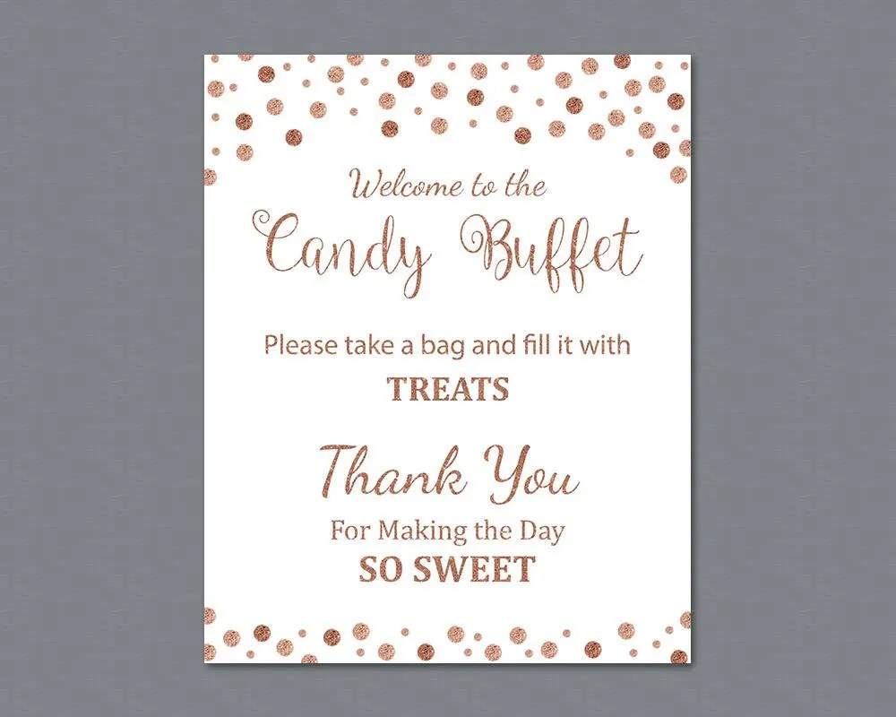 Candy Buffet Sign Printable Candy Bar Sign Rose Gold Etsy
