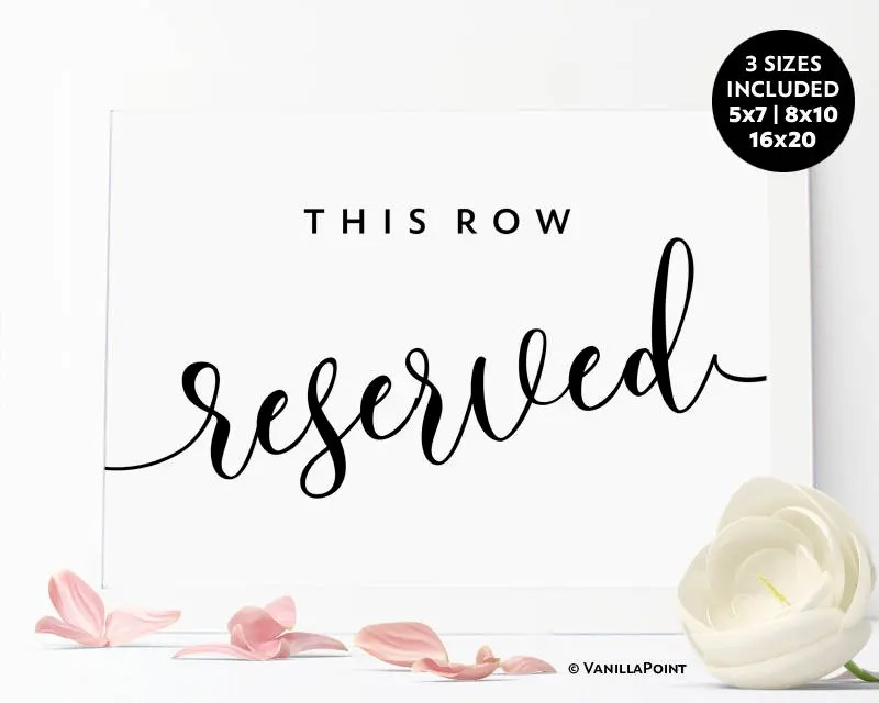 Reserved Row Sign, This Row Reserved, Printable Wedding Sign