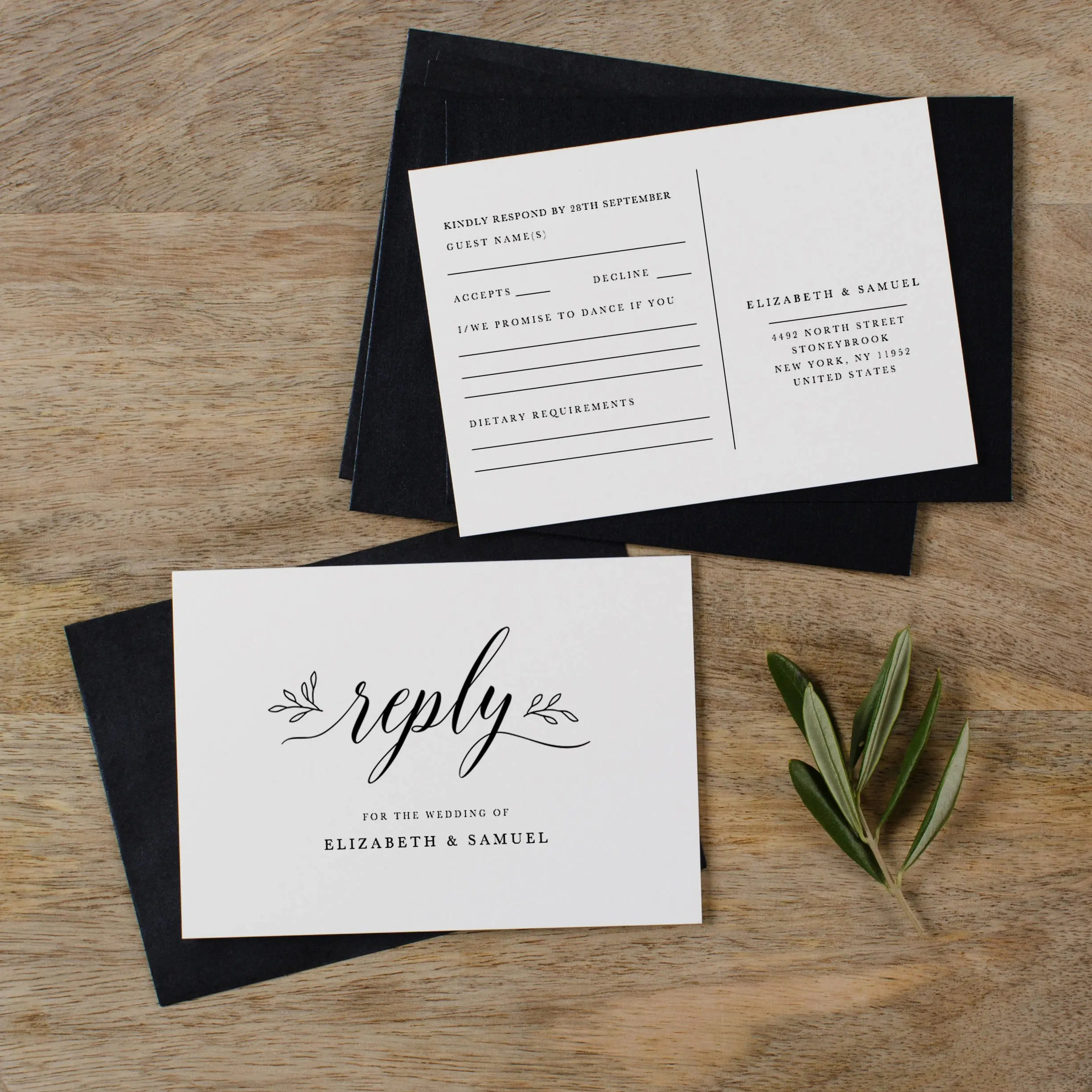 Postcard RSVP Template Printable Wedding Postcard RSVP Etsy
