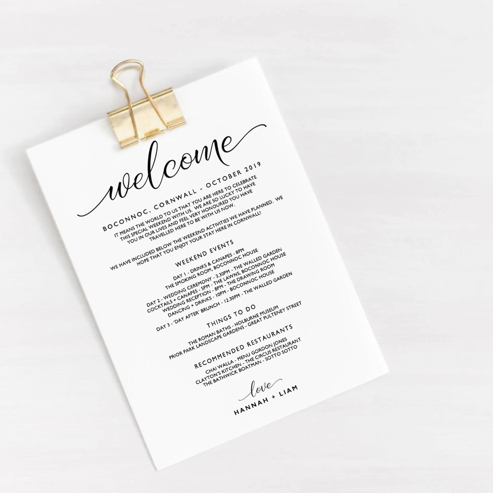 Wedding Welcome Itinerary Template Editable Wedding Etsy