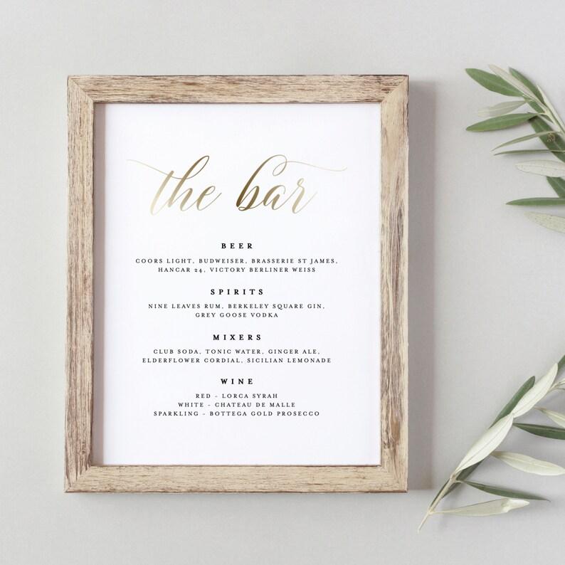 Wedding Bar Menu Template Drink Sign Printable Bar Menu Etsy