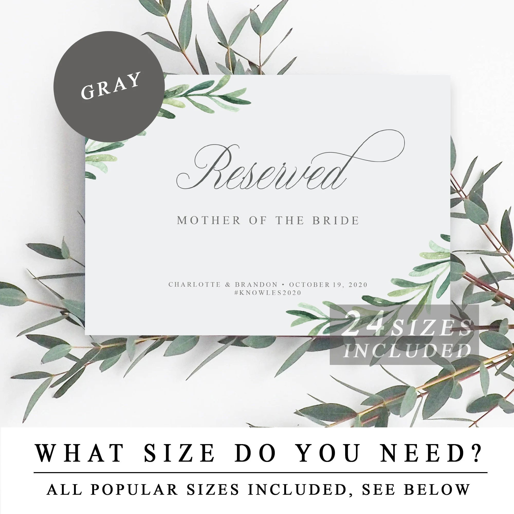 Greenery Reserved Sign, Printable Wedding Reserved Signs, Row