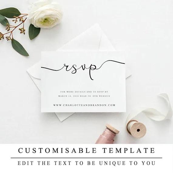 RSVP Website Template Instant Download Wedding Website RSVP Etsy