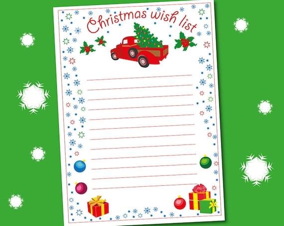 Christmas Wish List wish list template Christmas Wish List Etsy