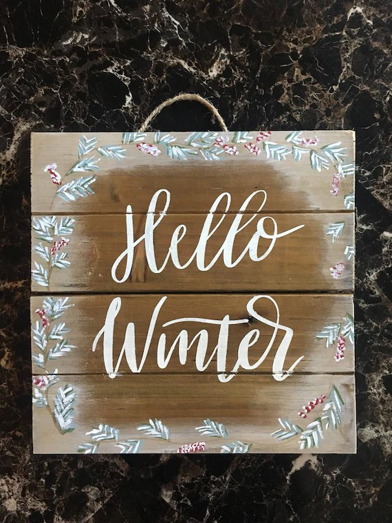 Hello Winter/Hanging wood sign/Holiday Sign/Entryway Etsy