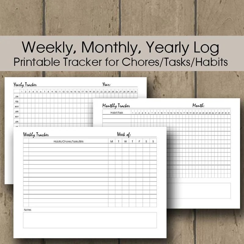 Monthly Habit Log Printable Weekly Chore Chart Printable Etsy