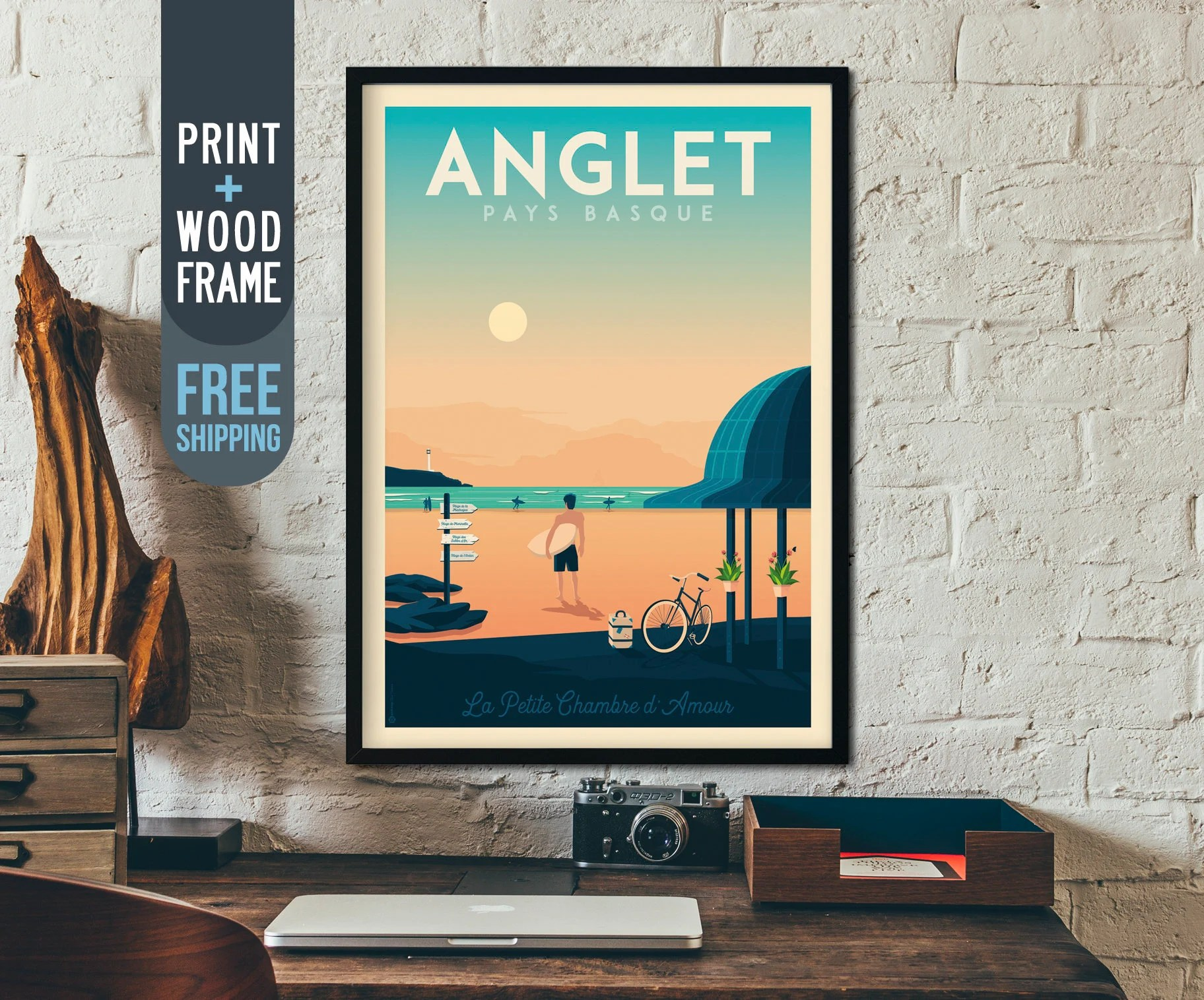Decoration Art Deco Anglet France Travel Poster France Vintage Travel Poster