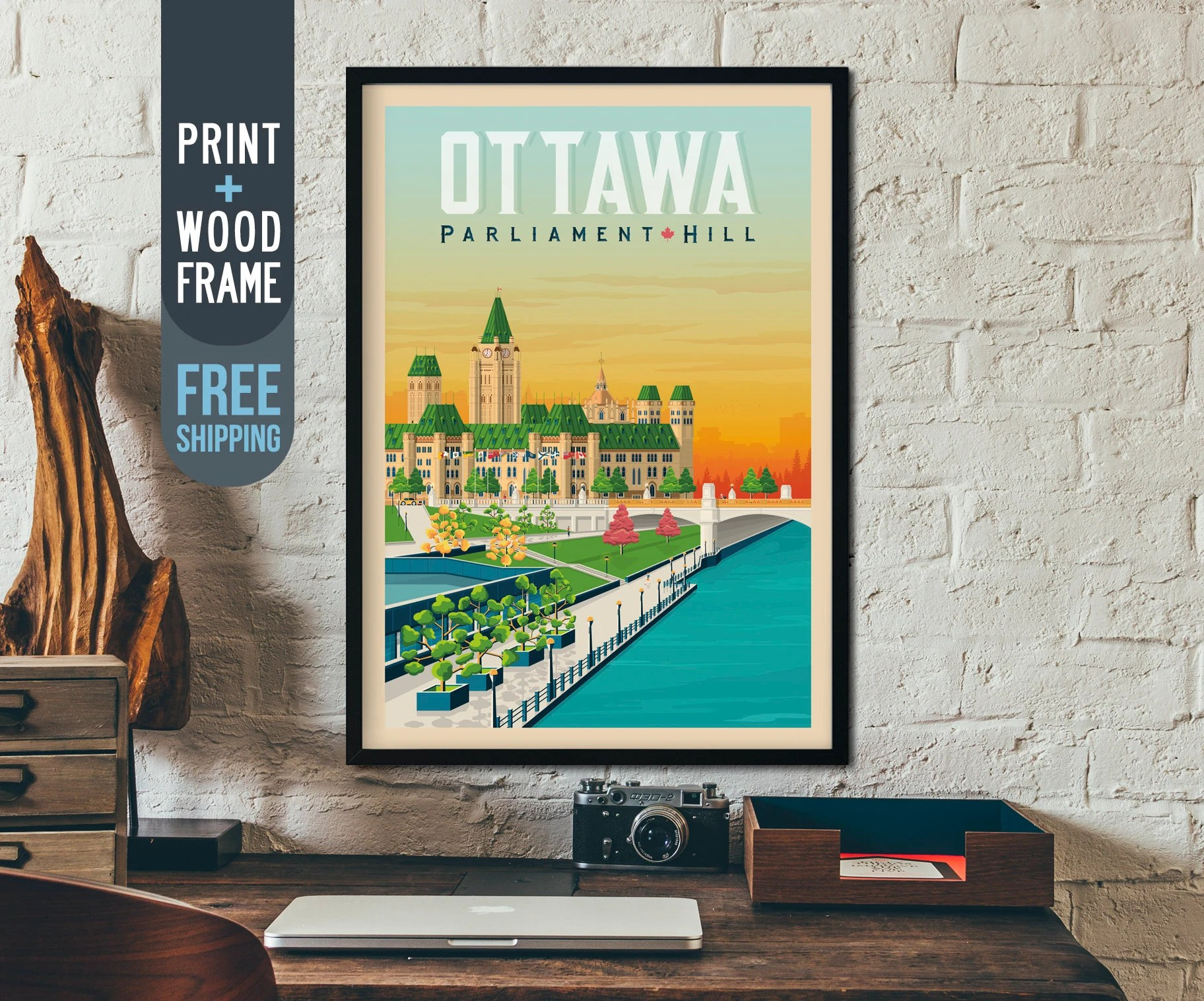 Wall Art Prints And Posters Ottawa Canada Vintage Travel Poster Ottawa Skyline Framed Poster