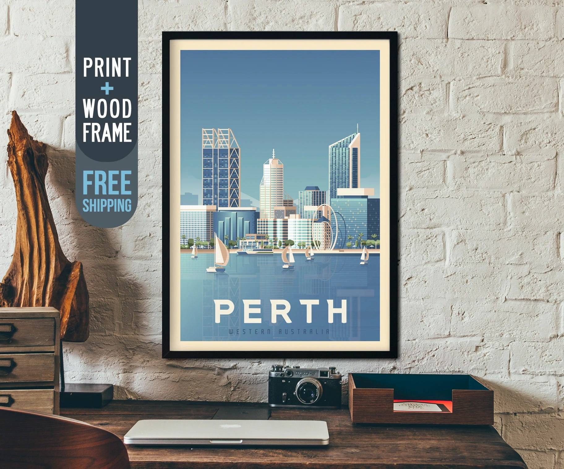Poster Shop Perth Perth Australia Vintage Travel Poster Perth Framed Poster Perth Australia Wall Art Home Decoration Wall Decoration Gift Idea